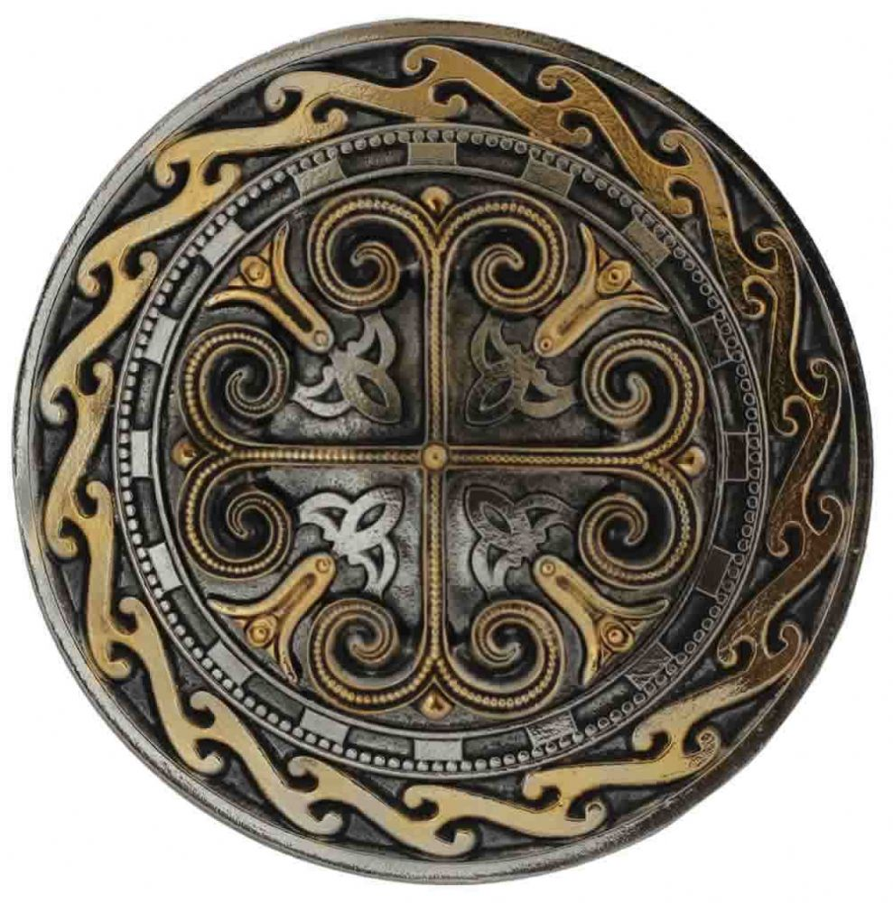 24ct Gold And Silver Plated Celtic Round Cross Belt Buckle With Display Stand Product Code Fk6
